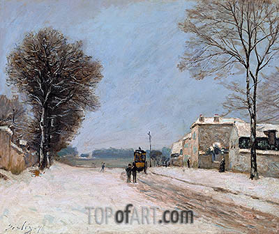 Port-Marly in Winter, 1876 | Alfred Sisley| Painting Reproduction