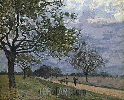 The Road from Versailles to Louveciennes, c.1879 | Alfred Sisley| Painting Reproduction