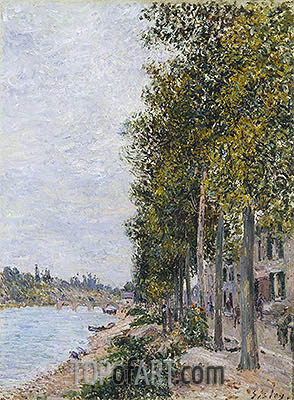 Road Along the Seine at Saint-Mammes, c.1880 | Alfred Sisley | Painting Reproduction