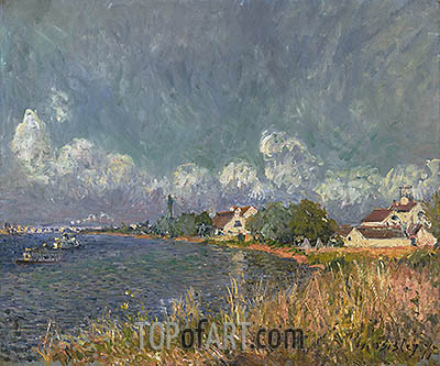 The Seine at Billancourt, 1877 | Alfred Sisley| Gemälde Reproduktion