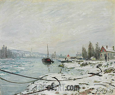 Mooring Lines, the Effect of Snow at Saint-Cloud, 1879 | Alfred Sisley | Painting Reproduction