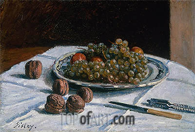 Grapes and Walnuts on a Table, 1876 | Alfred Sisley | Painting Reproduction