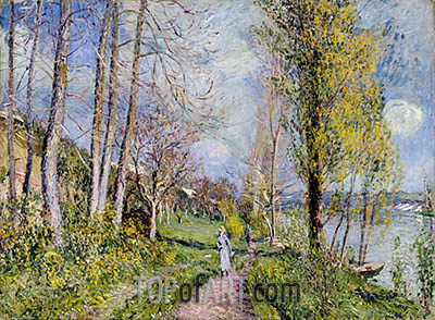 Banks of the Seine, undated | Alfred Sisley | Painting Reproduction