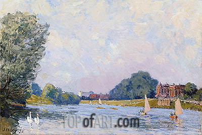 Hampton Court, 1874 | Alfred Sisley| Painting Reproduction