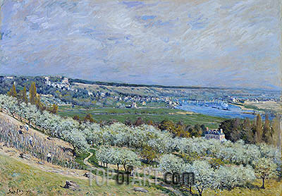 The Terrace at Saint-Germain, Printemps, 1875 | Alfred Sisley | Painting Reproduction