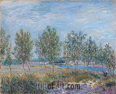 Poplars on a River Bank, 1882 | Alfred Sisley | Painting Reproduction