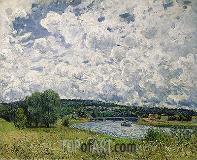 The Seine at Suresnes, 1877 | Alfred Sisley | Gemälde Reproduktion