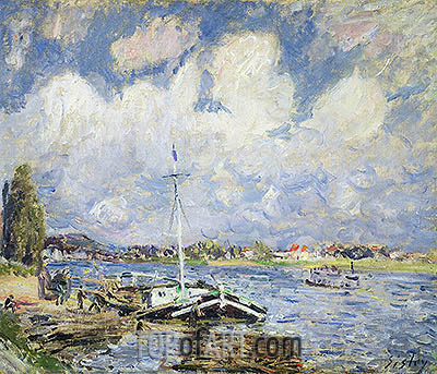 Boats on the Seine, c.1877 | Alfred Sisley| Gemälde Reproduktion