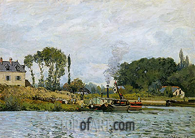 Boats at the Lock at Bougival, 1873 | Alfred Sisley| Gemälde Reproduktion
