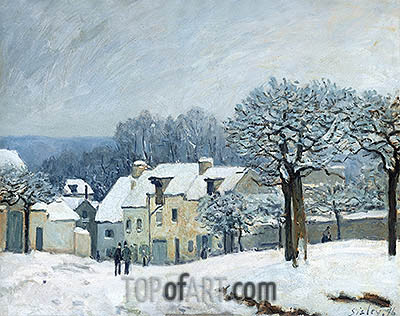 The Place du Chenil at Marly-le-Roi, Snow, 1876 | Alfred Sisley | Painting Reproduction