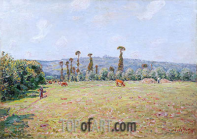 The Hills of La Bouille in Normandy - Morning, 1894 | Alfred Sisley| Painting Reproduction