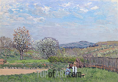 Children Playing in the Meadow, 1873 | Alfred Sisley | Painting Reproduction