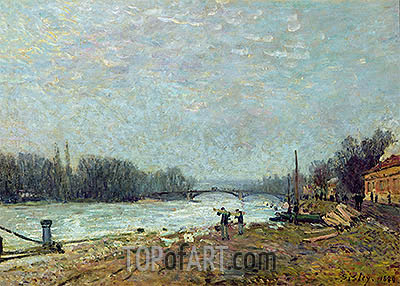 After the Thaw (Seine at Suresnes Bridge), 1880 | Alfred Sisley| Painting Reproduction