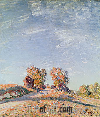 Uphill Road in Sunshine, 1891 | Alfred Sisley| Painting Reproduction