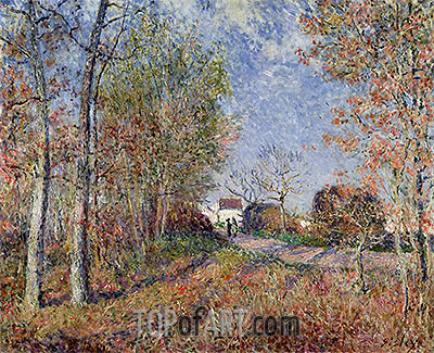 A Corner of the Woods at Sablons (Road to the Golden Woods), 1883 | Alfred Sisley | Painting Reproduction