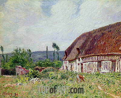 Thatched Cottage in Normandy, 1894 | Alfred Sisley| Painting Reproduction