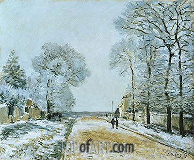 The Road, Snow Effect, Marly-le-Roi, 1876 | Alfred Sisley | Painting Reproduction