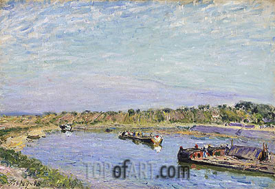 The Port of Saint Mammes, Morning, 1885 | Alfred Sisley| Painting Reproduction