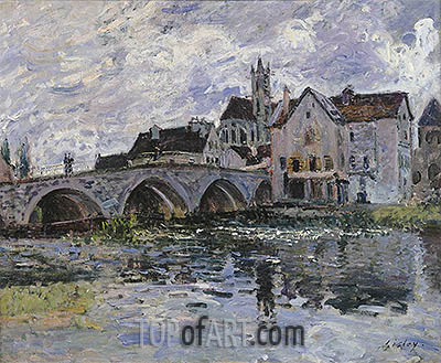 The Bridge of Moret-sur-Loing, 1887 | Alfred Sisley | Gemälde Reproduktion