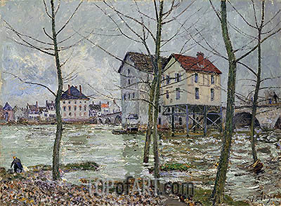 The Mills of Moret - Winter, 1890 | Alfred Sisley | Painting Reproduction