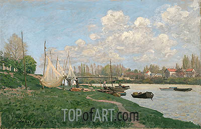 Drying Nets - Villeneuve-la-Garenne, 1872 | Alfred Sisley | Painting Reproduction