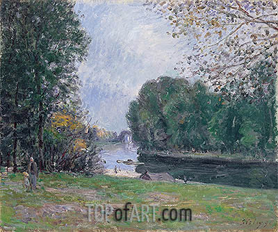 A Turn of the River Loing, Summer, 1896 | Alfred Sisley| Painting Reproduction