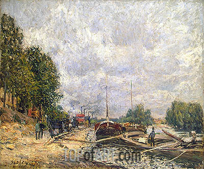 Barges at Billancourt, 1877 | Alfred Sisley| Gemälde Reproduktion