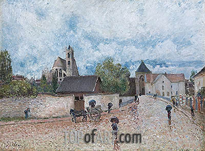 Moret-sur-Loing, Rain, c.1887/88 | Alfred Sisley| Painting Reproduction
