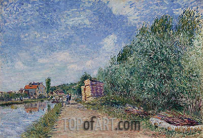 Loing Canal - Towpath, 1882 | Alfred Sisley| Painting Reproduction