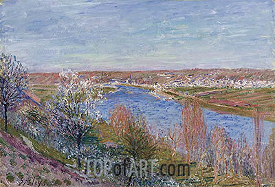 The Village of Champagne at Sunset - April, 1885   Alfred Sisley   Painting Reproduction