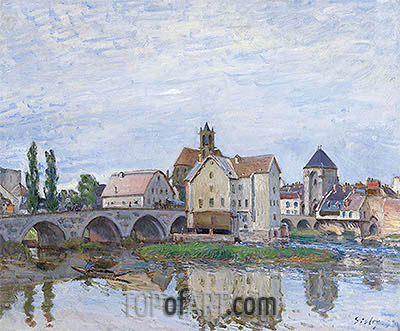 Moret-sur-Loing - Gray Weather, c.1892 | Alfred Sisley| Painting Reproduction