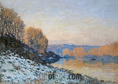 Port Marly, Hoarfrost, 1872 | Alfred Sisley| Painting Reproduction