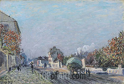 A Street in Marly, undated | Alfred Sisley| Painting Reproduction