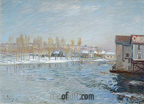 Alfred Sisley | The Loing and the Mills of Moret, Snow Effect, 1891