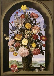 Bouquet in an Arched Window, c.1618 by Ambrosius Bosschaert | Painting Reproduction