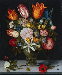 Flowers in a Glass | Ambrosius Bosschaert | Gemälde Reproduktion