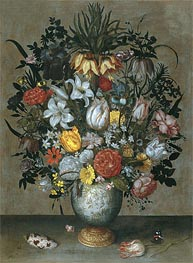 Chinese Vase with Flowers, Shells and Insects | Ambrosius Bosschaert | Painting Reproduction