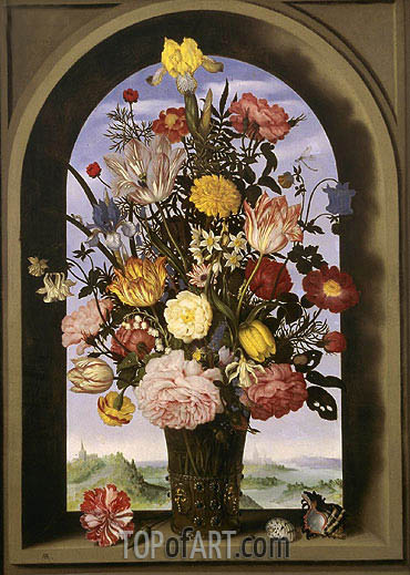 Bouquet in an Arched Window, c.1618 | Ambrosius Bosschaert | Painting Reproduction