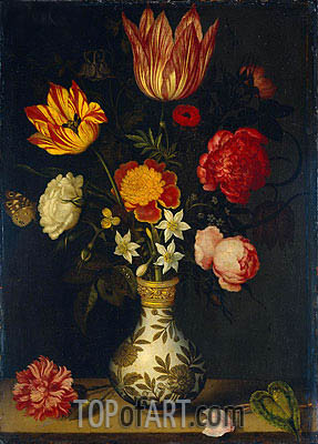 Still Life with Flowers in a Wan-Li Vase, 1619 | Ambrosius Bosschaert| Painting Reproduction