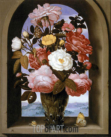 Still Life with Roses in a Berkemeijer Glass, undated | Ambrosius Bosschaert | Gemälde Reproduktion