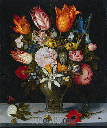 Flowers in a Glass, 1606 | Ambrosius Bosschaert | Painting Reproduction