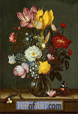 Bouquet of Flowers in a Glass Vase, 1621 | Ambrosius Bosschaert| Painting Reproduction