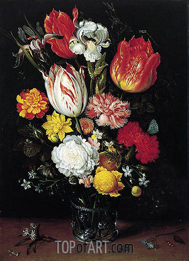 Flowers in a Glass Beaker, undated | Ambrosius Bosschaert| Painting Reproduction