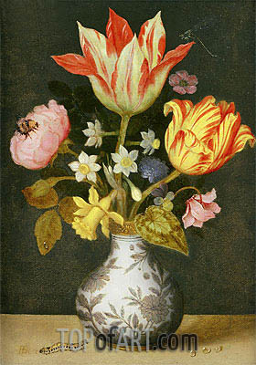 Still Life with a Wan'li Vase of Flowers,  | Ambrosius Bosschaert | Painting Reproduction