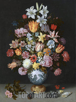 Still Life of Flowers in a Wan-Li Vase, c.1609/10 | Ambrosius Bosschaert| Painting Reproduction
