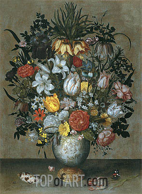 Ambrosius Bosschaert | Chinese Vase with Flowers, Shells and Insects, c.1609