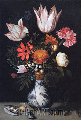 Flowers in a Vase, c.1619 | Ambrosius Bosschaert| Painting Reproduction