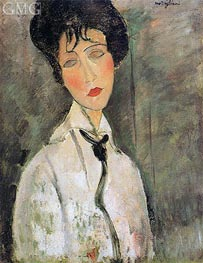 Portrait of a Woman in a Black Tie, 1917 by Modigliani | Painting Reproduction