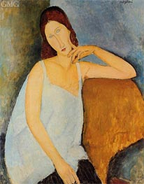 Portrait of Jeanne Hebuterne, Sitting, 1918 by Modigliani | Painting Reproduction