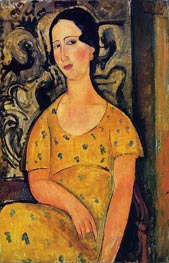 Young Woman in a Yellow Dress (Madame Modot), 1918 von Modigliani | Gemälde-Reproduktion
